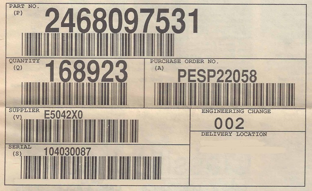 AIAG Shipping Label