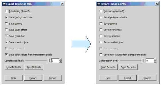 Figure 5. Gimp Export Dialogs